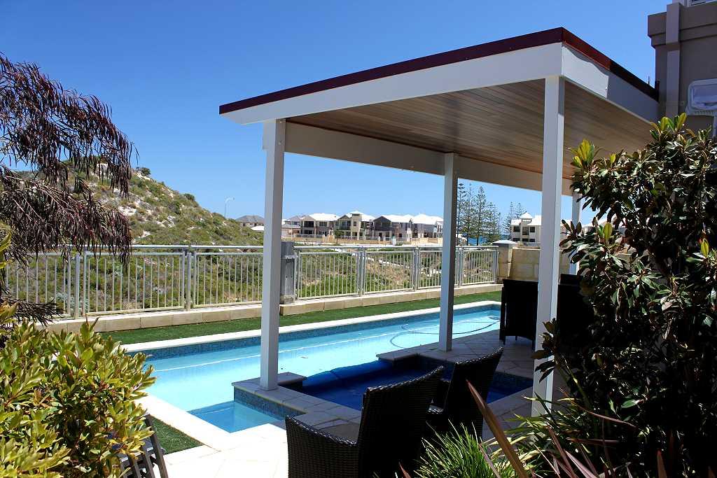 Skillion Roof Timber Patio With Cedar Lining Blue Sky