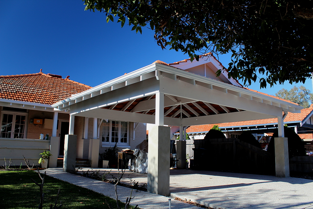 Double Timber Carport With Tiled Dutch Gable Roof Blue